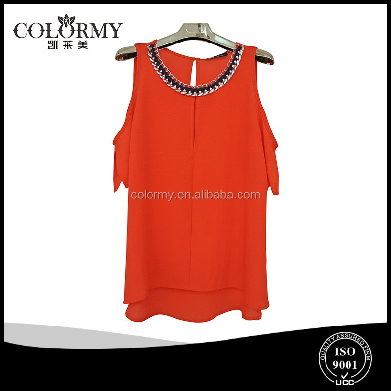 latest style strapless red ladies sexy blouse chiffon tops wholesales manufacture odm/oem