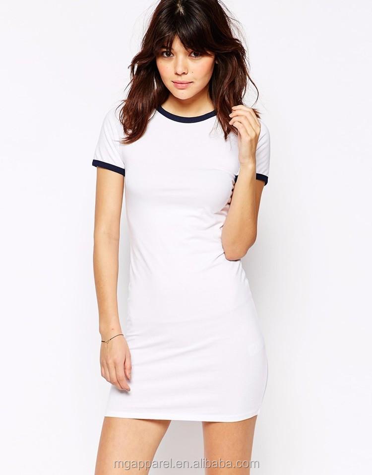 96c251476 2016 ropa de moda de verano de las mujeres bodycon camiseta en blanco  vestidos para las