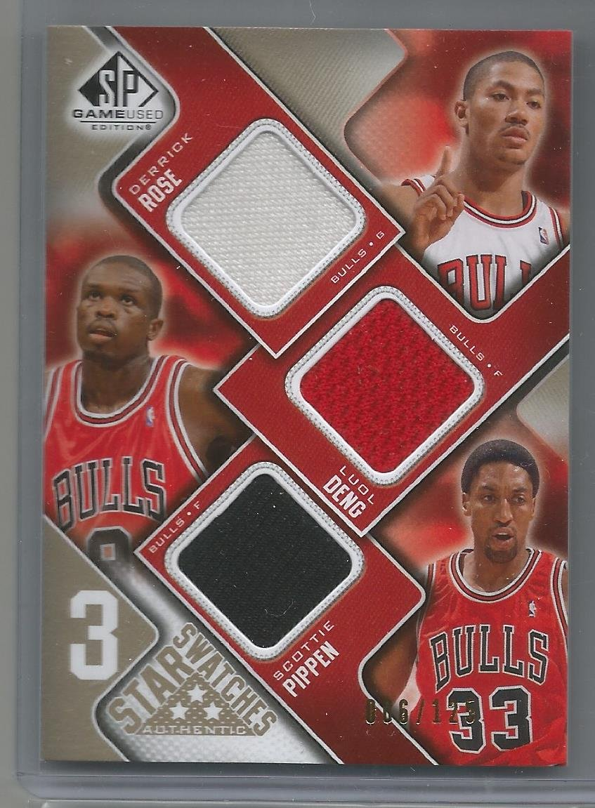 c95dc9faf23 Get Quotations · 2009-10 SP Game Used Basketball Derrick Rose-Luol  Deng-Scottie Pippen Bulls