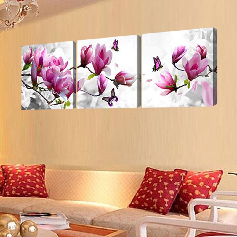 sans cadre 3 conjuntos toile peinture violet flowes avec papillon art cheap image home decor sur. Black Bedroom Furniture Sets. Home Design Ideas