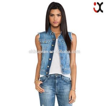 2015 la señora denim de mujeres JXW1501 del moda chaqueta sin de chaleco jeans mangas raZ64qr