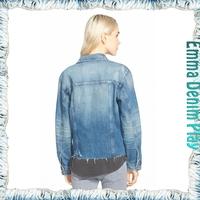 Fashion Design Womens Raw Cutting Hem Bleaching Washed Jean Jacket for Girls