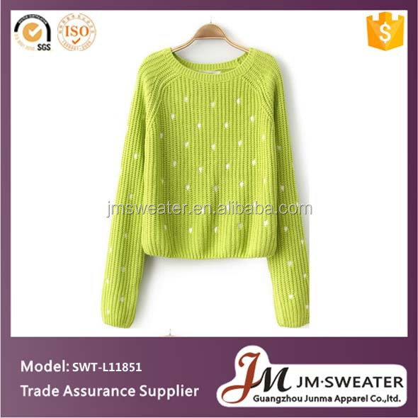 Ladies Intarsia Hand Knit Cotton Sweaters