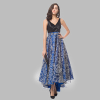 Ladies satin printed florals party gown blue long bridesmaid dresses