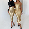 Gold Strapless Mermaid Bandage Dress High Quality Rayon Midi Women Sexy Bodycon Dresses