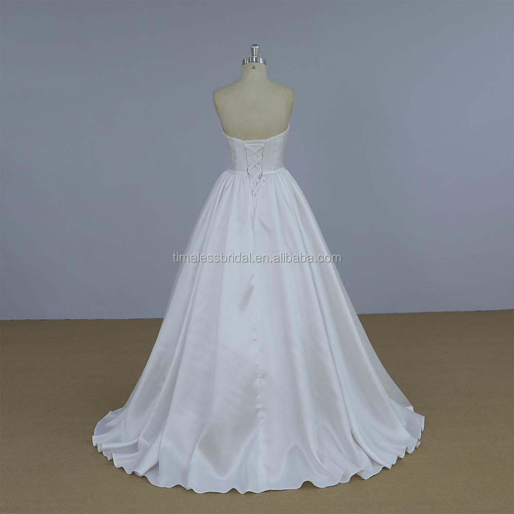 Strapless White Color Ball Gown Mikado Wedding Dress Bridal Gown ...