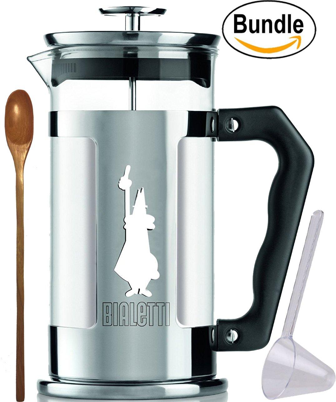 Bialetti 06852 Preziosa 8 Cup / 33oz French Press Coffee Maker, Stainless Steel, Silver & Zonoz Wooden Stirring Spoon (Bundle)