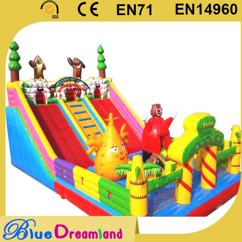 New design yellow inflatable toboggan slide made in China