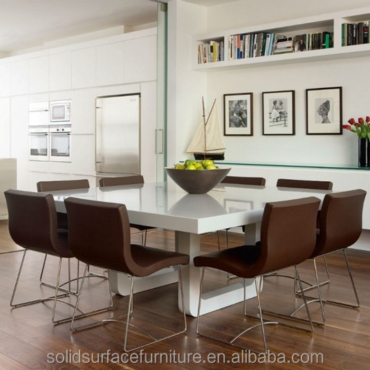 Scratches Resistant White Marble Quartz Stone Dining Table Top