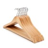 Hot sale natural wooden top hanger suit hanger with round bar