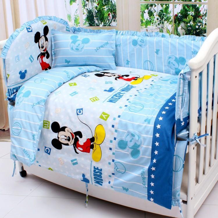 Promotion 7pcs Mickey Mouse crib baby bumper cot bedding sets baby fleece blanket newborn bumper duvet