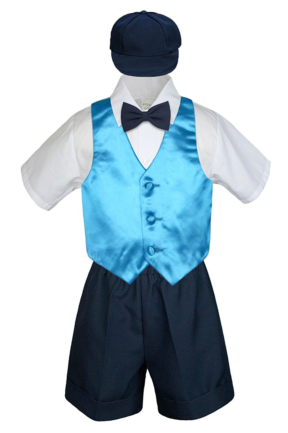 d688eee1e227 Get Quotations · Leadertux 5pc Formal Baby Toddler Boys Turquoise Vest Navy  Shorts Suits Hat S-4T (