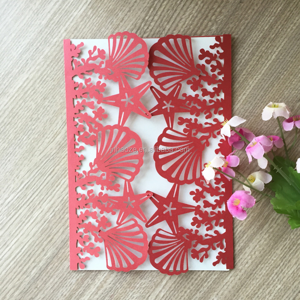 100pcs/lot Beach Wedding Invitations Shell And Sea Star Wedding Cards 2018  New Style Wedding Invitation Card24 Colors For You - Buy Many Kinds Of  Unique Cards For Your Choose,Many Colors And Patterns