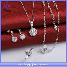 Elegant white zircon stone 925 silver anklet ,ring ,pendant earrings set jewelry set ( SPCS780-D)