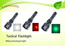 White/Red/Green colors long distance search tactical flashlight multifunction rechargeable torch light