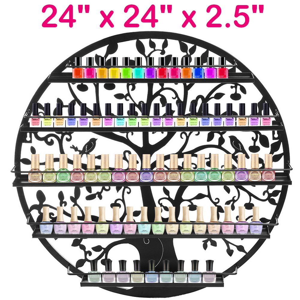 Blackpoolfa Wall Mounted 5 Tier Nail Polish Rack Holder | Tree Silhouette Round Iron Salon Wall Art Display -24 x 24 x 2.5 inch -Nail Polish Bottles not Included