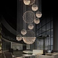 Luxury Solar System Spiral Raindrop Chandelier Ceiling Lights With 40# Crystal Ball