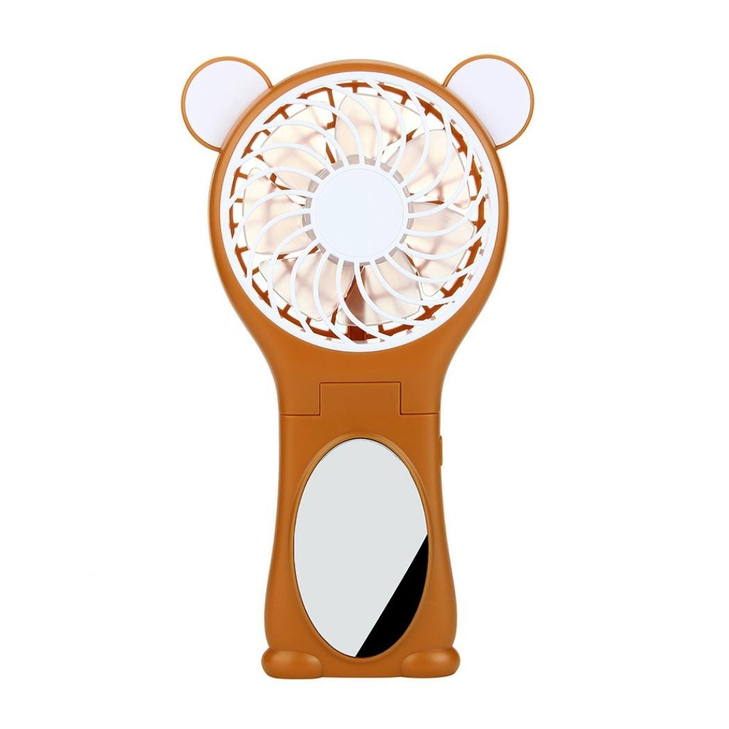 Makaor Bear Shaped Foldable Multi-function Portable Rechargeable Quiet Mini USB Fan with Mirror (Orange)