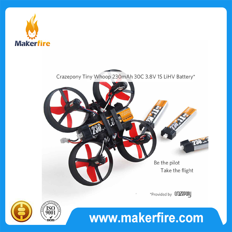 4pcs in 1 unit Crazepony 230mAh 30C 1S HV 3.8v lipo battery for Tiny Whoop Blade Inductrix Micro JST Connector