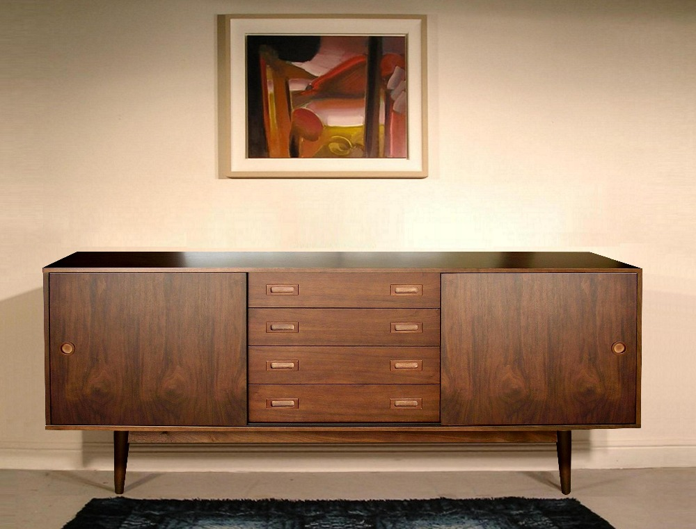 66 inch 4 Drawers Retro Scandinavian Modern Wood Sideboard