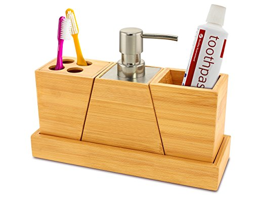 Rectangle Bamboo Hotel Soap Dish Bathroom Set With Toothbrush Holder
