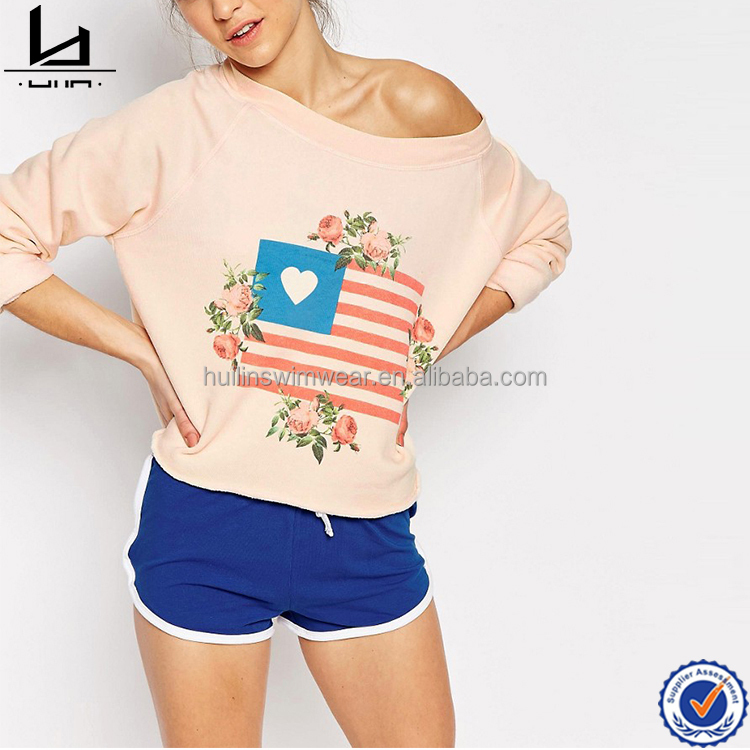 china supplier custom latest design women sweatshirt with flag and floral print