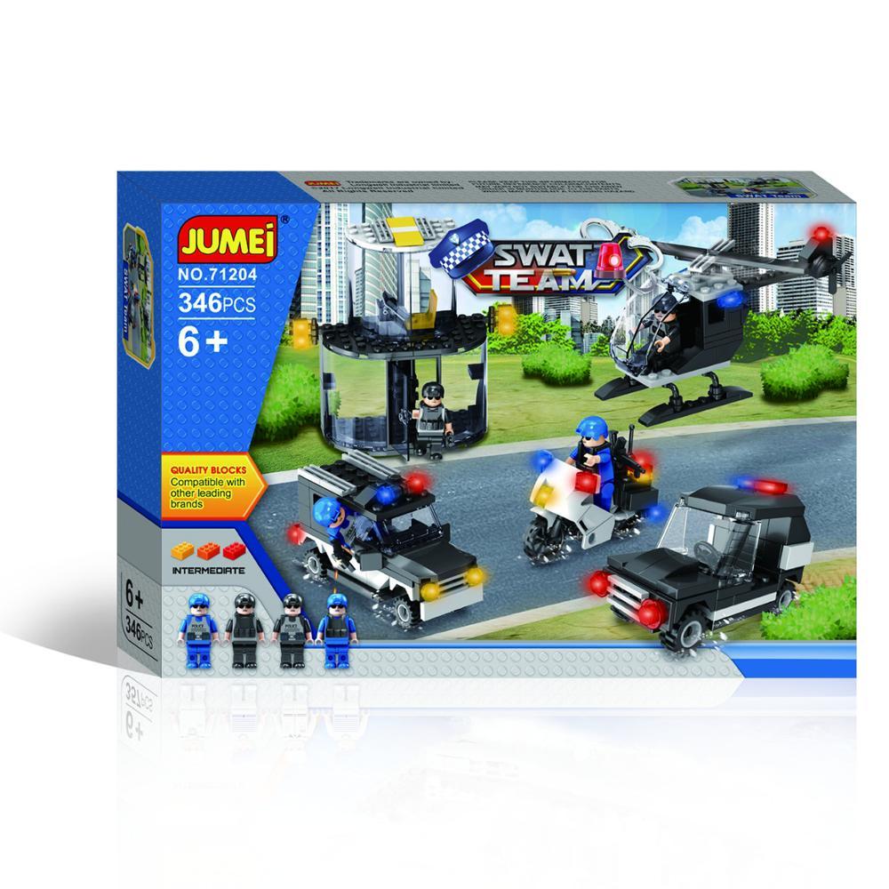 Plastik polis çocuklar oyuncak inşaat blokları Set şehir swat montaj oyuncaklar Mini rakamlar ile