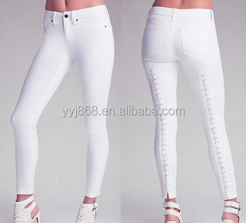Fashion Hot Sell Sexy White Corset-waisted Skinny Jeans Feature ...