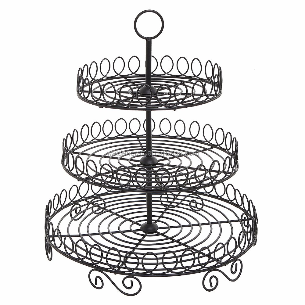 Round Black Metal Wire 3 Tier Cupcake Stand Tower Display Rack - Buy ...