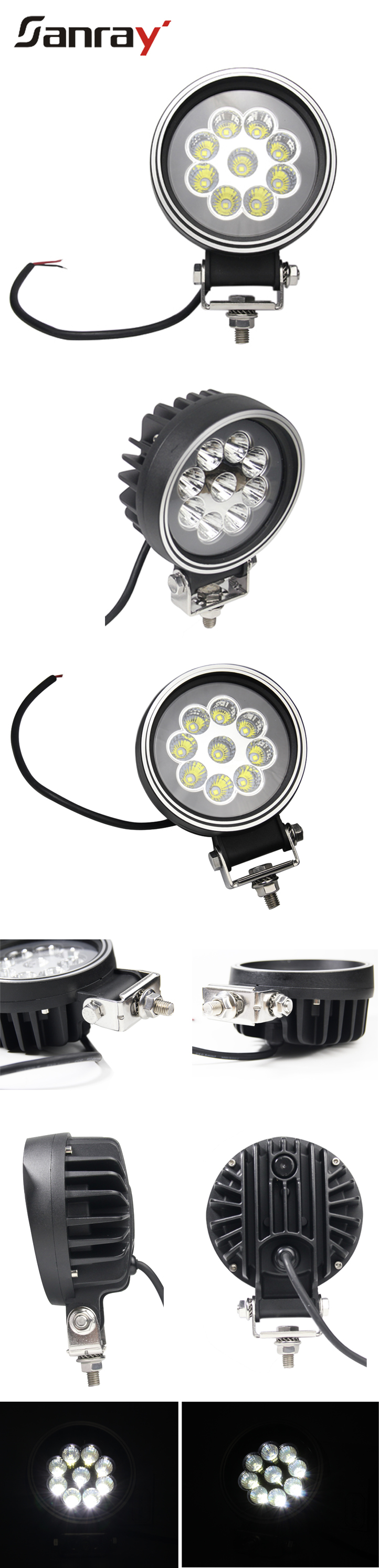 Heavy Machinery vechine newest 45w headlight spot/flood beam led work light for truck tractor agriculture mining vehicles
