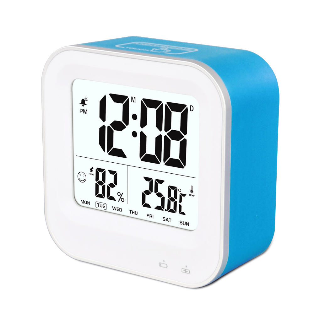 digital desktop elektronische smart uhr mit zeit thermometer hygrometer display tischuhr produkt. Black Bedroom Furniture Sets. Home Design Ideas