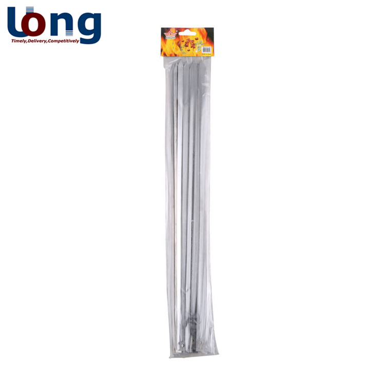 high-quality wholesale barbecue sticks kebab bbq stainless steel flat metal skewers