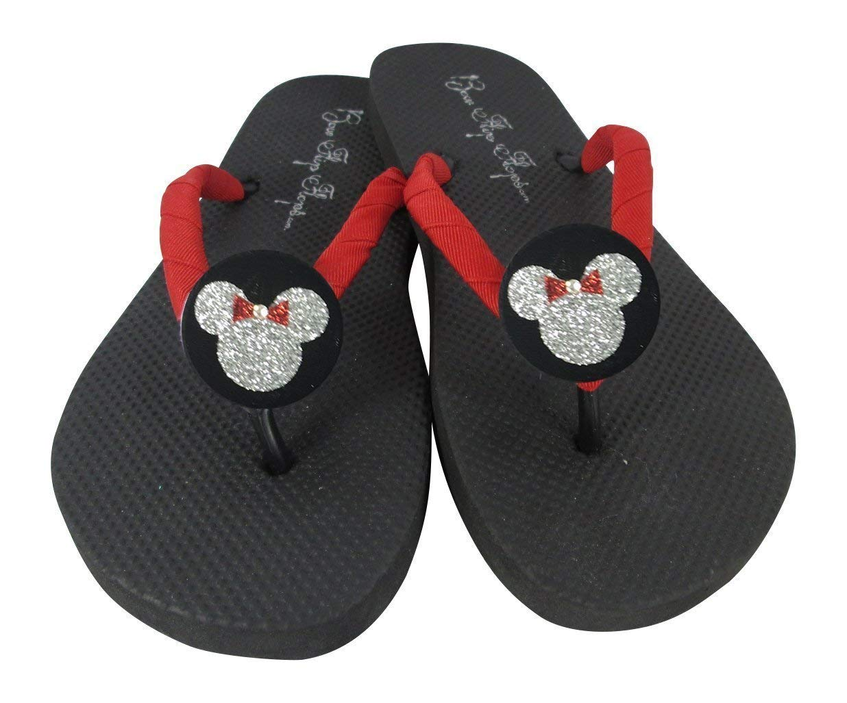 cc8237c9d1154 Get Quotations · Customizable Colors Minnie Mouse Red and Black Glitter Flip  Flops