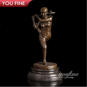Custom Golf Girl Bronze Sports Player Sculpture