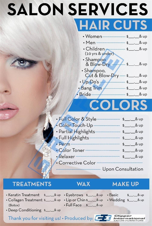 Buy Price List For Beauty Salon Salon Posters 36h X 24w