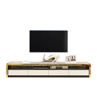 Italian furniture new model stainless steel frame tv stand cabinets modern white high gloss marble top table tv stand