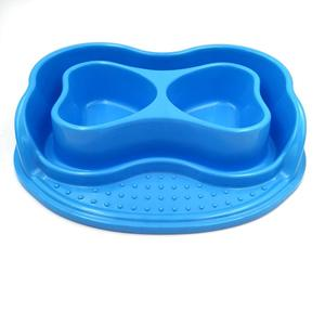 Eco-friendly Food Grade Plastic Double Dinner Pet Bowls for Feeding Dog Cat