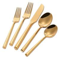 Wholesale hand forged stainless steel gold kitchen cutlery