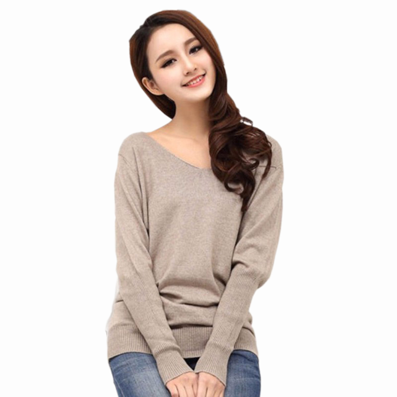Cashmere Knitted Sweater Women V-Neck Long Sleeve Pullover Sweter Mujer 2015 Korean Autumn Casual Cheap Wool knitwear