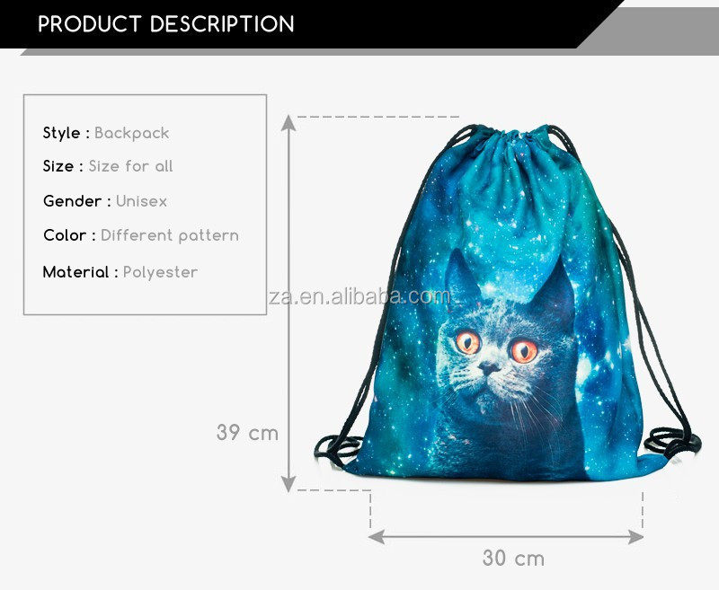 Canvas Bag Outdoor Backpack Drawstring Bag 3d Printed Drawstring ...