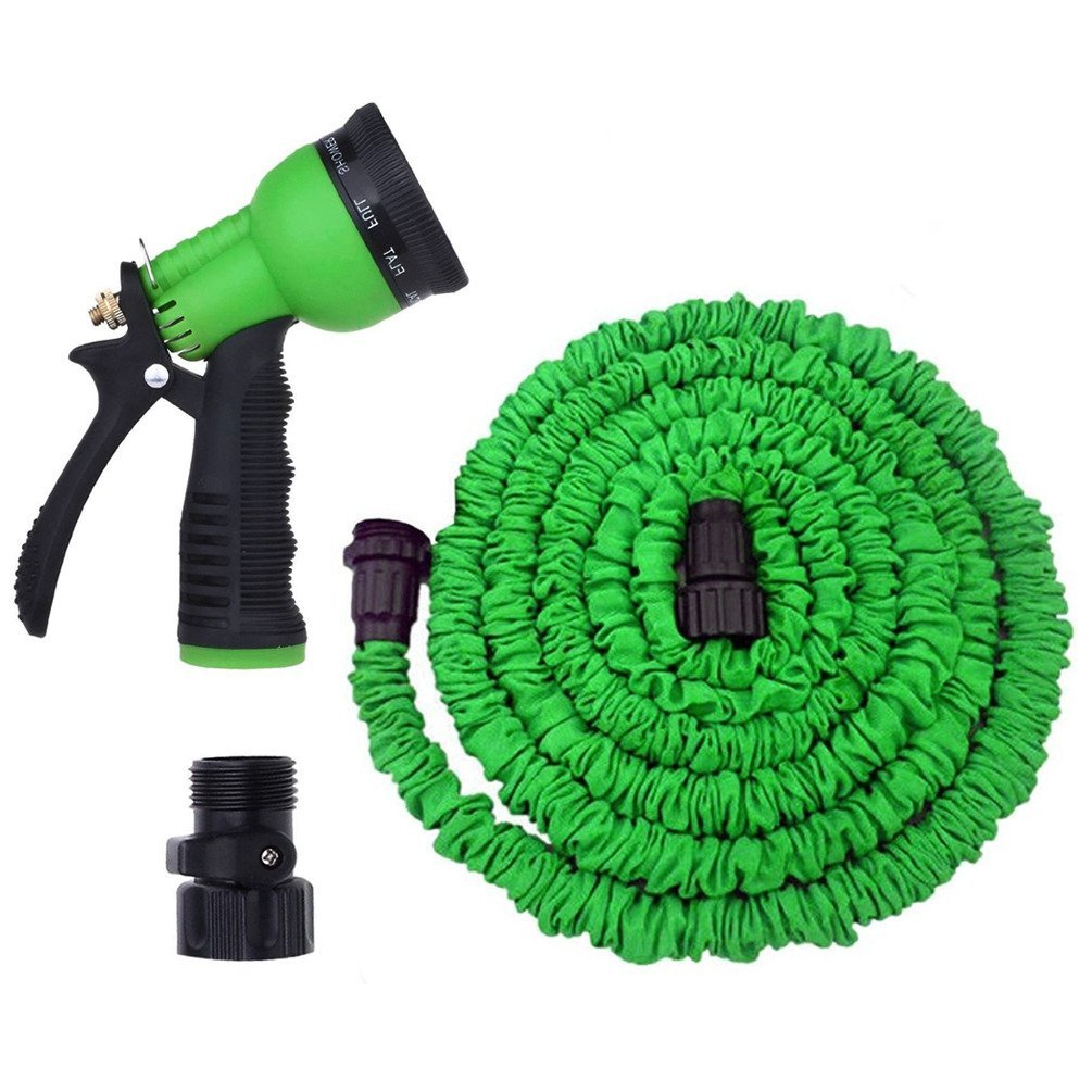 Fieans 8 Function Spray Nozzle + 50 Ft Garden Hose, No Kink, Lightweight & Flexible Shrinking / Expanding Retractable Water Hose, Watering the Garden or Washing the Car
