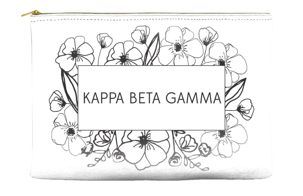 Kappa Beta Gamma Flower Box White Cosmetic Accessory Pouch Bag for Makeup Jewelry & other Essentials