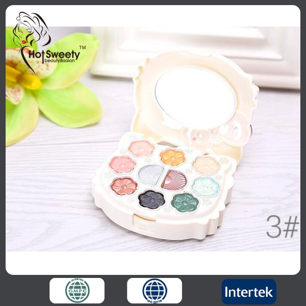 Cute eyeshadow palette private label case makeup kit with eyeshadow and compact powder blush lipgloss cosmetics