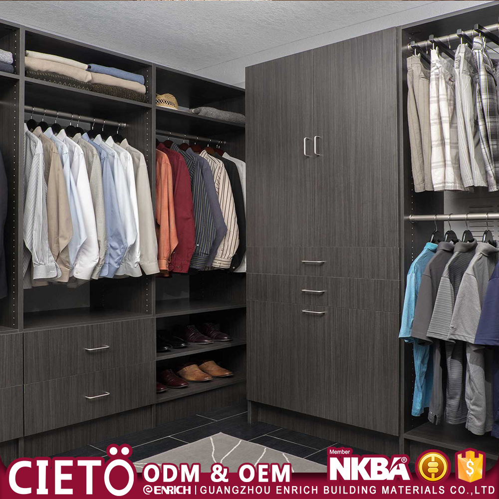 wooden clothes closet space wardrobe shelving units