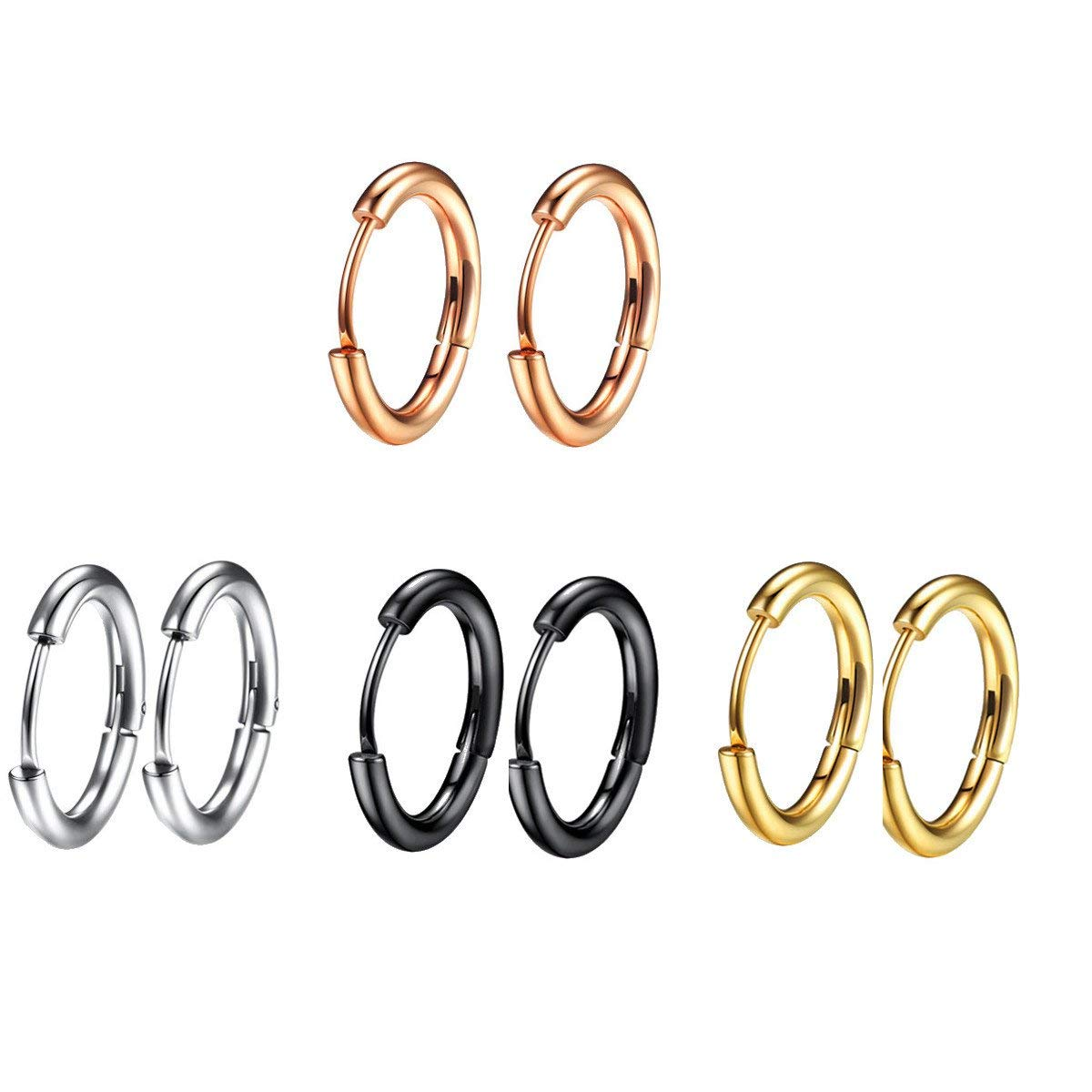 578d18e3b Get Quotations · hopewey 4 Pairs Studs Hoop Earrings, Stainless Steel Earrings  4 Different Colors for Women and