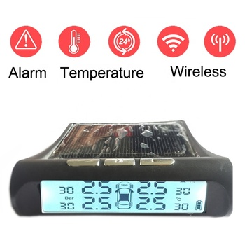 Solar Power Wireless System Car Tires Pressure Monitor Temperature Show