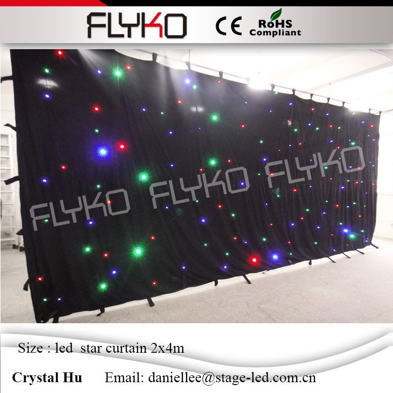 Factory price aesthetic fantasy wedding decoration curtain 2mx4m led star curtain