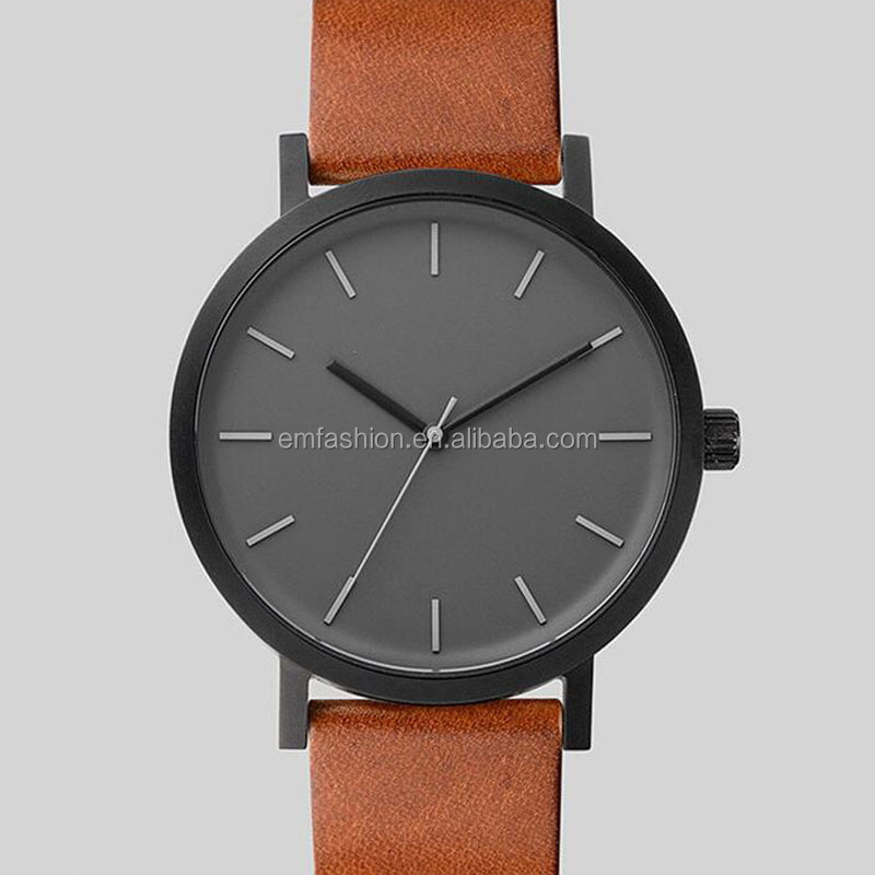 Top-Marke Simple Fashion Damen Herren Unisex Leder Uhr
