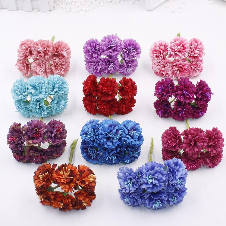 35cm 6 Heads Small Silk Scrapbooking Flowers Artificial