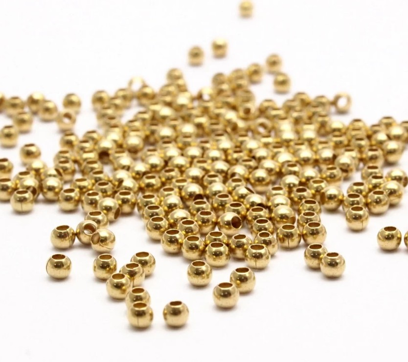 2mm 0.9mm Hole Eco-Life Raw Brass Crimp Beads